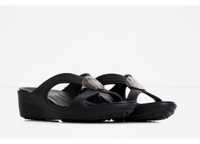 Crocs Sanrah Liquid Metallic Wedge 205599-0FG Black Women's Anatomic Sandal